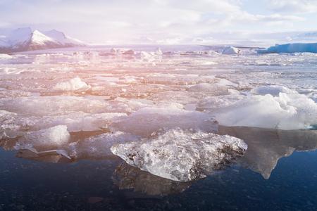 Iceland Jokulsarlon ice glacier and lagoon, winter season natural landscape background