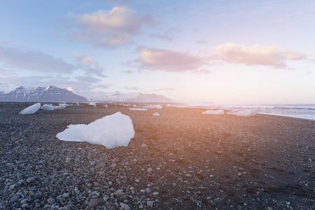 Glacier Ice On Black Rock Beach Called Diamond Beach Iceland