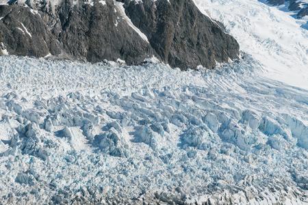 Fox Glacier close up winter season New Zealand natural landscape Stock Photo