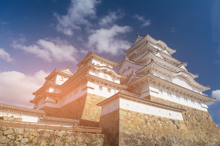 Himeji castle against blue sky, Japan ancient historic landmark
