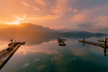 Sun moon lake in Taiwan, sunrise with reflection water lake, natural landscape background Stok Fotoğraf