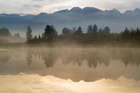 Morning seen at Matheson lake Aoraki Mount Cook National Park New Zealand South Island