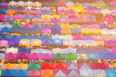 Aerial view night market multiple colour, cityscape background