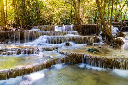 Deep forest multiple motion waterfall, natural landscape background