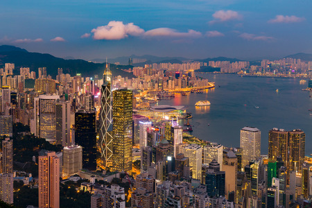 Night light Hong Kong central business downtown, cityscape background Imagens
