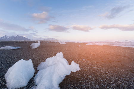 Diamond beach at Jokulsarlon glacier, Iceland winter season natural landscape background