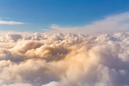 White clouds and blue skyline, natural landscape background Stockfoto