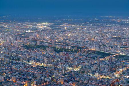 Sapporo city night aerial view, Japan Hokkaido cityscap background Stok Fotoğraf