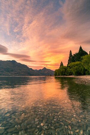 Wakatipu water lake in Queentown Southen Island, New Zealand natural landscape