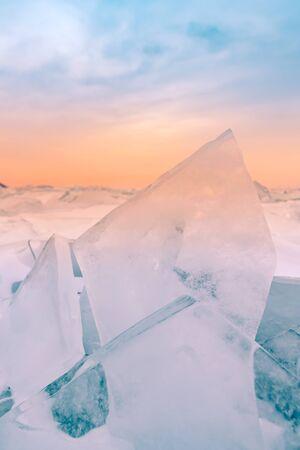 Baikal water lake breaking in during winter season, Russia natural landscape background Reklamní fotografie
