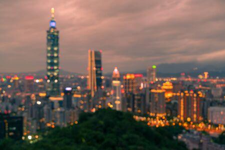 Night blur light Taipei cityscape downtown, abstract background Reklamní fotografie