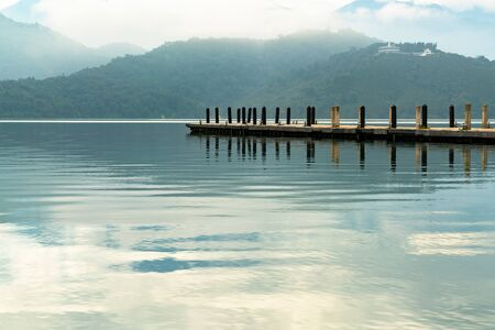 Sun Moon Lake mirror view with mountain background, natural landscape background Reklamní fotografie