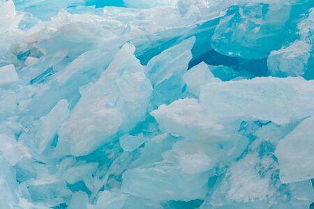 Ice crack no pattern on frost water lake, winter season natural landscape background Archivio Fotografico