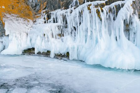 Russia winter frost ice on Baikal lake, natural landscape background
