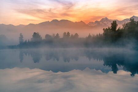 Mt. Matheson reflection lake before sunrise, New Zealand natural landscape