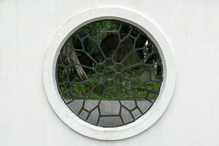Ancient vintage Chinese window, traditional design background