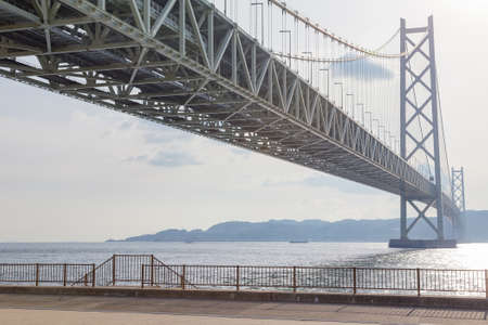 Akashi Kaikyo suspension Bridge across ocean, Kobe Japan