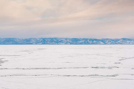 Baikal winter water alke skyline with mountain background, natural landscape 스톡 콘텐츠