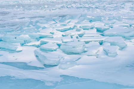 Freeze Ice lake Baikal Russia, winter season natural landscape background 스톡 콘텐츠