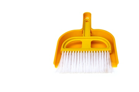 brush and broom handle, cut a path on a white background. photo