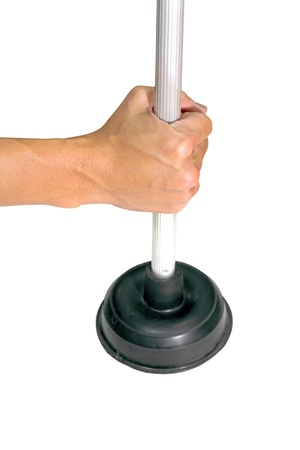 plunger and hand isolated on the white background Stock Photo