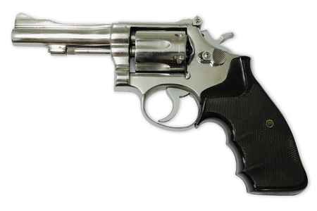 dangerous weapons: Gun on white background