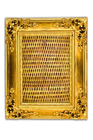 background of rattan weave in the frame photo