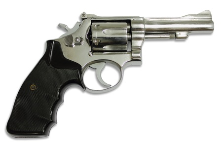 gun shot: Revolvers on white background Stock Photo