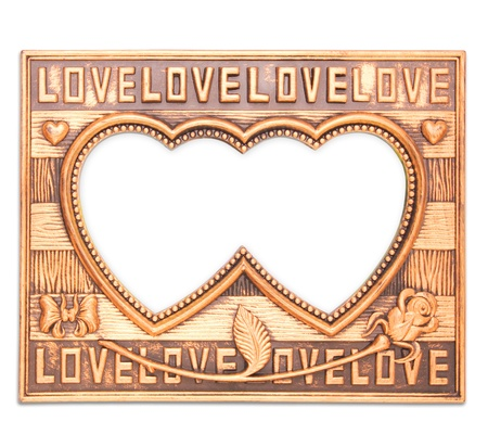 The Old antique love frame on the white background photo