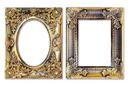 The antique gold frame on the white background Stock Photo - 12177564