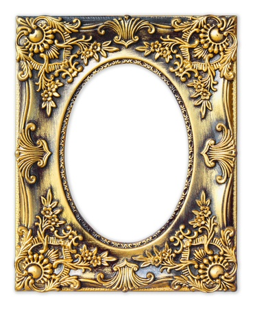 rectangular: The Old antique gold frame on the white background