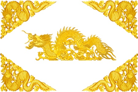 Golden dragon frame on white background photo