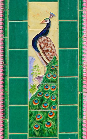 Ceramic tile Peacock as background photo