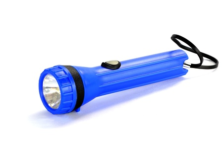 Blue Flashlight on the white background photo
