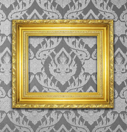 baroque room: The gold frame on the wall Stock Photo