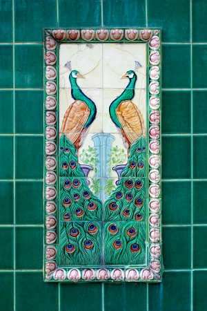 Ceramic tile Peacock as background