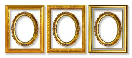 The antique gold frame on the white background Stock Photo - 13360393