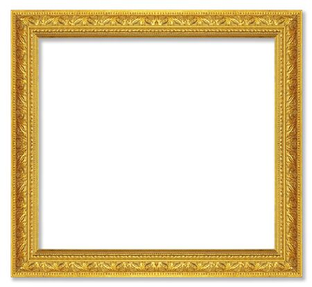 The antique gold frame on the white background Stock Photo - 13360382
