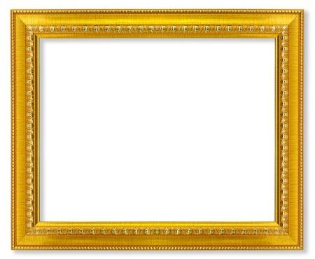 ornate gold frame: El marco de oro viejo en el fondo blanco