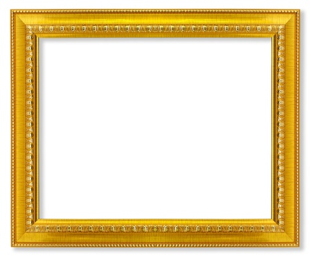 golden frame: The antique gold frame on the white background