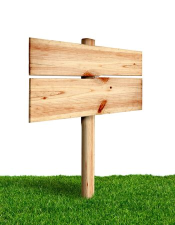wooden signboard: Wooden sign with green grass isolated on a white background
