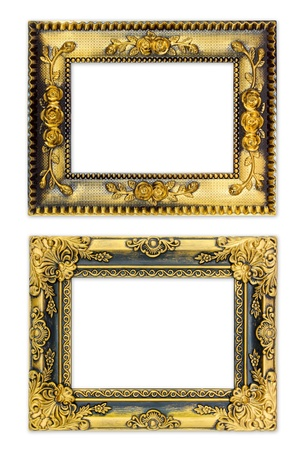 The antique gold frame on the white background Stock Photo - 13360403