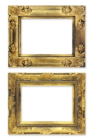 The antique gold frame on the white background Stock Photo - 13360405