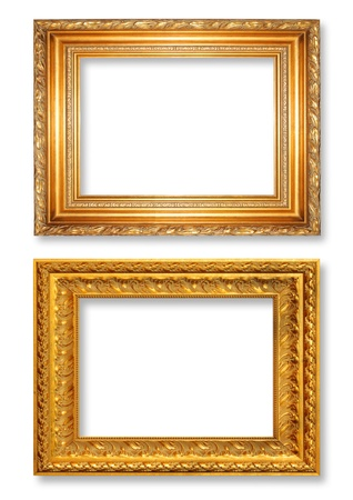The antique gold frame on the white background Stock Photo - 13360397