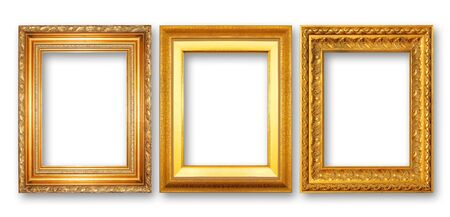 The antique gold frame on the white background Stock Photo - 13360402