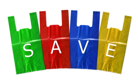 colorful plastic bag save isolated on white background photo