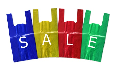 frowzy: colorful plastic bag sale isolated on white background