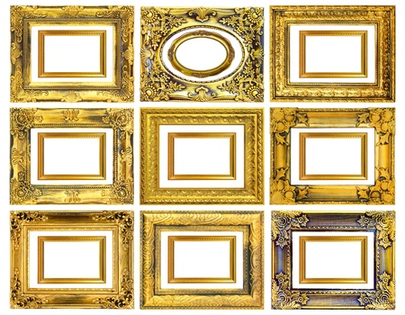 The antique gold frame on the white background Stock Photo - 13595971