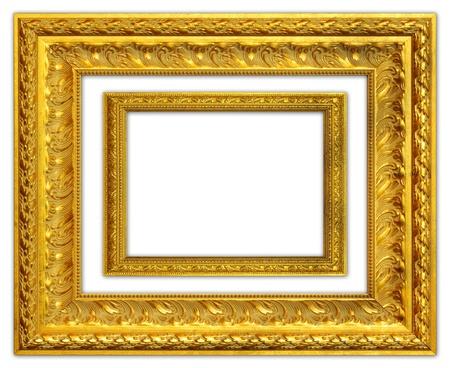gold decorations: El marco de oro antiguo en el fondo blanco Foto de archivo