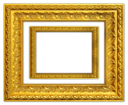 The antique gold frame on the white background Stock Photo - 13595977